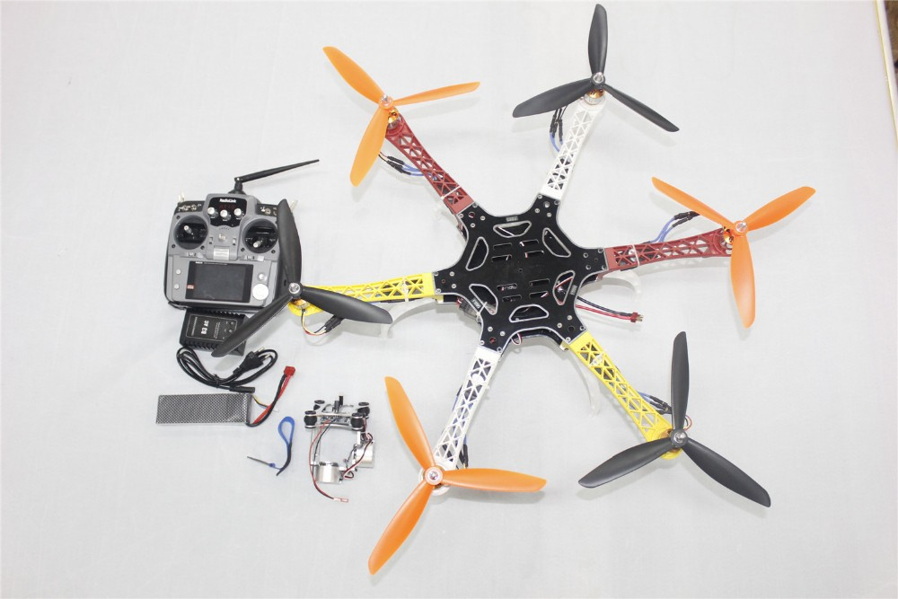 DIY Drone F550 Hexa-Rotor Full Kit 1045 3-Prop 6Axis Multi QuadCopter UFO & High Landing Gear + 2-Axis Gimbal Mount F05114-AK