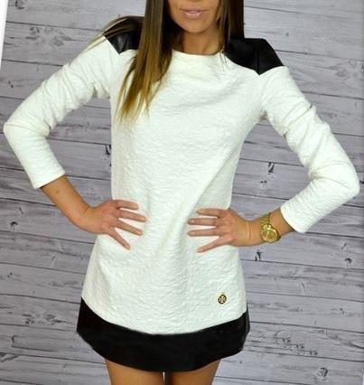 2015 New Fashion Women's Autumn Winter Dresses Casual Slim White PU Splicing Mini Office Dress Long Sleeve Patchwork 0635(China (Mainland))