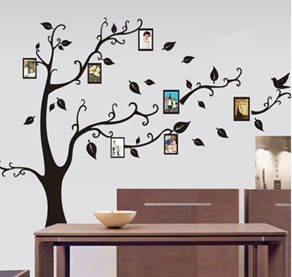 Extra Large 180*250 Brown Black Photo Frame Tree Wall Sticker Home Decorations Family Wall Decals Adesivo De Parede Decor Mural(China (Mainland))