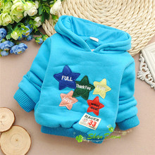 Winter Baby Boys and Girls Lambs wool fleece Lovely patch of stars hooded Thick warm Hoodies,V1589(China (Mainland))