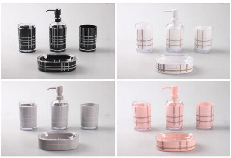 Free shipping fashion bathroom set 4pieces black pink for Pink and grey bathroom decor