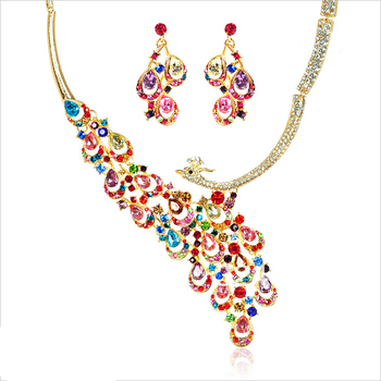 100% multicolour crystal bridal jewelry sets noble peacock jewelry sets alloy bib necklace wedding accessory retail