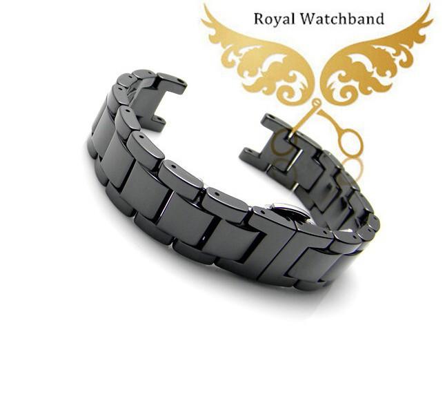 Продвижение! 20 мм высшего класса качества черной керамики часы группы браслеты развертывания бабочка застежка бесплатная доставка