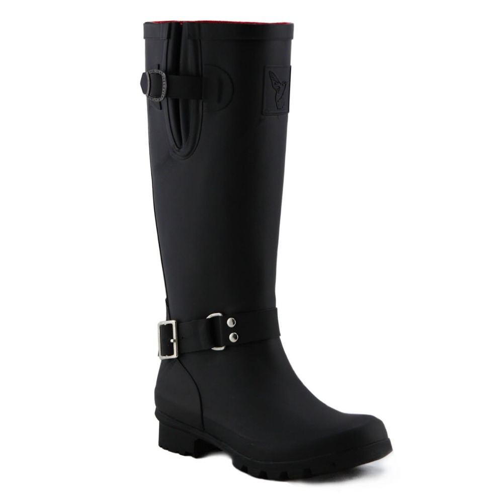 Evercreatures Triumph Wellies - Tall UK Brand Boots Black Rubber Boots Rain Boots Wellies For Women(China (Mainland))