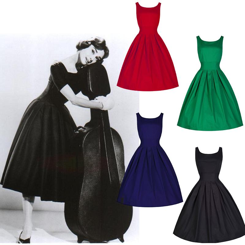 Women Summer Retro Classic Audrey Hepburn Dress Vintage Rockabilly 50s 60s Pin-up Celebrity Flare Swing Dresses Vestidos - HangZhou BOBO Cosplay Co., Ltd store