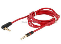 High Quality elbow 3.5mm to 3.5mm male to male AUX Cable for Samsung Mobile Phone and Cellphone 1PCS Red Free shipping
