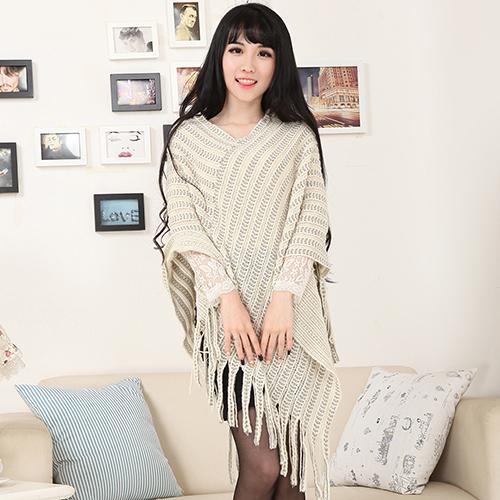 Bluelans 2016 New Women's Knit Warm Batwing Cape Tassels Poncho Cloak Jacket Coat Winter Outwear 4 Colors