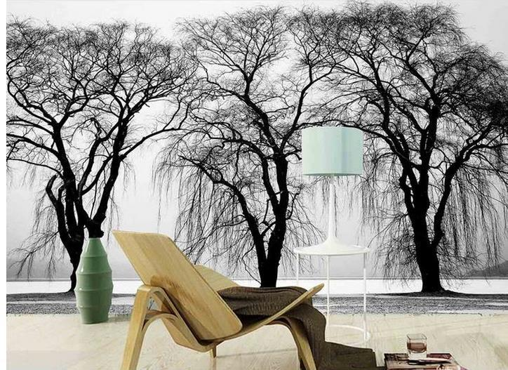 Buy custom photo wallpaper 3d european for Black tree mural