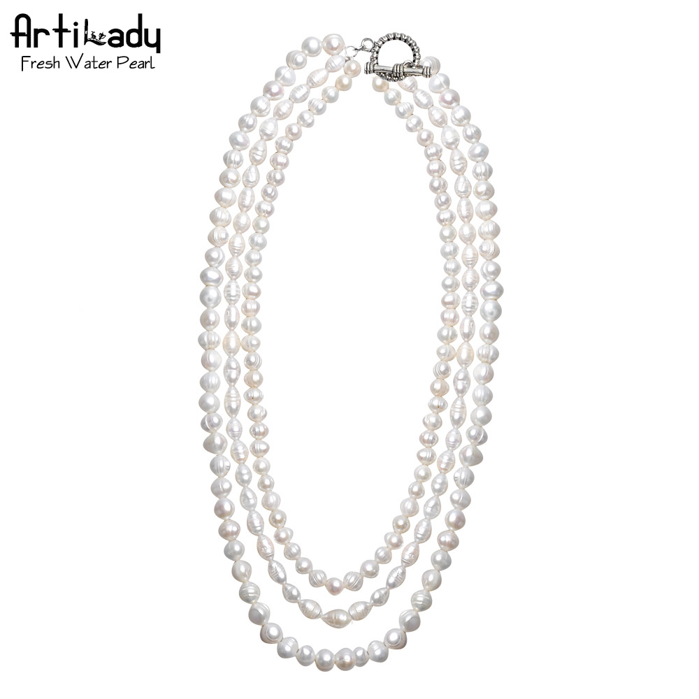 Artilady charming natural freshwater pearl layer necklace genuine pearl necklace for women jewelry party<br><br>Aliexpress
