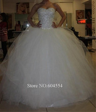 Sexy Stock Dress Vestido De Noiva Princesa White/Ivory Beading Crystal Wedding Dress Vintage Wedding Dress Robe De Mariage(China (Mainland))