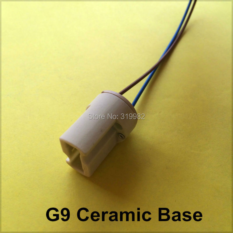 20pcs/lot G9 Lamp Base Socket Wihout Iron Hoop Pottery and Porcelain Ceramic Lamp Fitting Cable Wire for LED Halogen Lamp Bulb(China (Mainland))