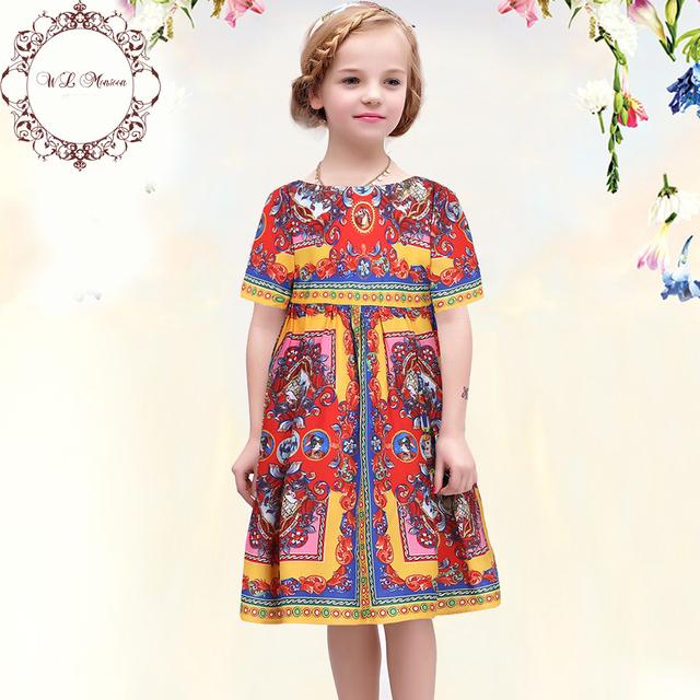 Wlmonsoon девушки летом 2016 хлопок детский девочка платья детский костюм Carretto Siciliano детей платья для девочек одежда 3 - 12