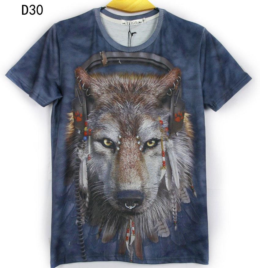 2014 Rushed (alice)sale!!!2016 Spring Women/men Galaxy Dj Wolf Print Short Sleeve Novely 3d T Shirt Top Plus Size M/l/xl/xxl()
