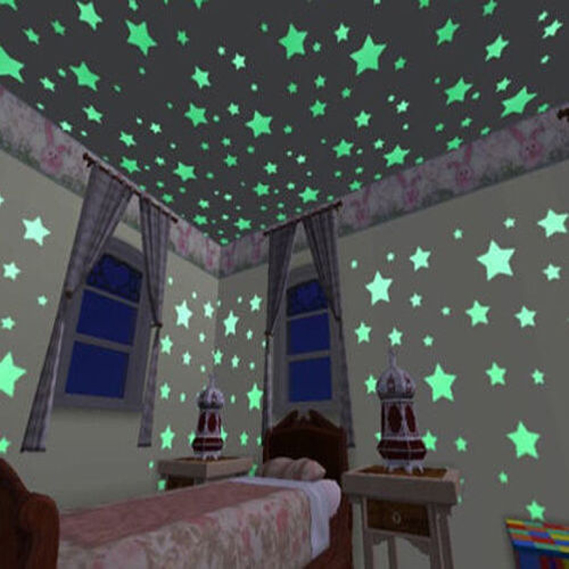 100pcs Wall Stickers Decal Glow In The Dark Baby Kids Bedroom Home Decor Color Stars Luminous Fluorescent Wall Stickers Decal(China (Mainland))