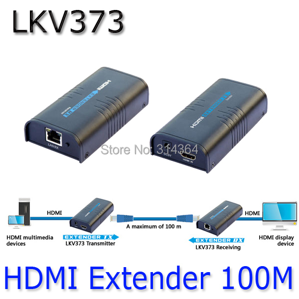 1080P HDMI Network Unlimited Extender (Sender+Receiver) 100-120M,LKV373 Over LAN RJ45 CAT5E CAT6,HDCP compatible, Lan 100M(China (Mainland))