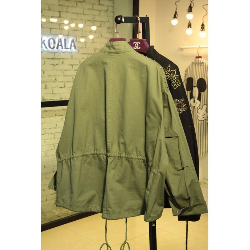 2015 Hot Sale Autumn Winter Women Jacket Tops Long Sleeve Slim Turn-Down Collar Army Green Outwear Women Coat