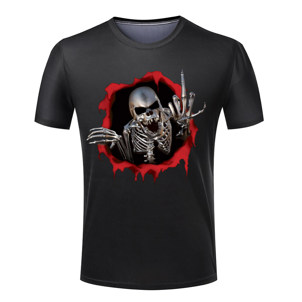 Plus Size S-4XL Skeleton Steel Man t shirt O Neck Popular 3D T Shirts Men Fashion Skull Mens Tops Euro Size Short sleeve(China (Mainland))