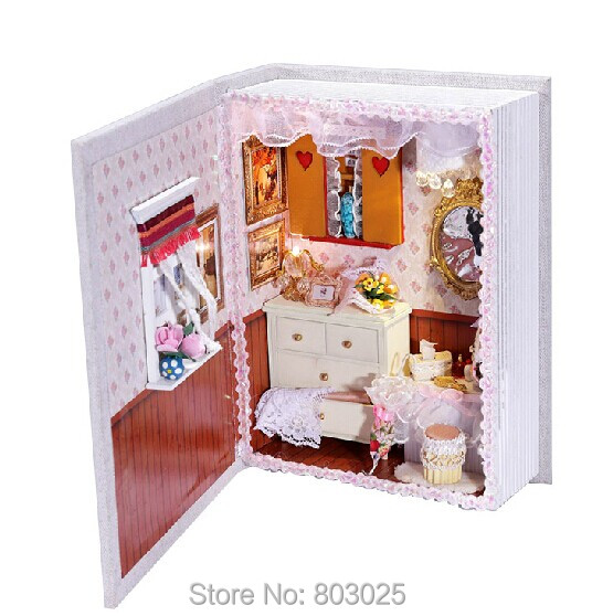 Free Shipping 2014 Diary Note Shaped Model Scale Toy DIY House Of Ladybro' Room, Assembly Miniature Dollhouse For Kids(China (Mainland))