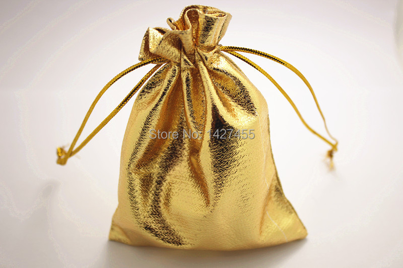 100pcs/lot 10x15cm Shiny gold Satin Gift Bags organza Candy Jewelry Bag Packing With Drawstring(China (Mainland))