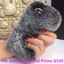 Luxury Rabbit Hair Fur phone case For Samsung Galaxy Grand Prime G530 G530H Shinning back cover case for G530 Free Gift !