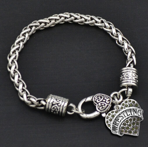"""4pcs/lot Mixed Wholesale Heart Charm Bracelet Stamped """"WRESTLING"""" Can Ship Immediately Best Gift!(China (Mainland))"""