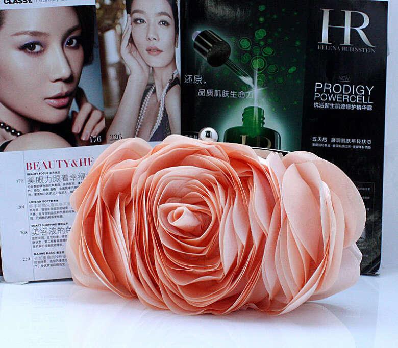 2015 NEW Hot Sale Women Evening Bag 100% New Banquet 3D Big Flower Purse,Messenger Bags Bolsas Fashion Elegent Silk Satin Clutch(China (Mainland))