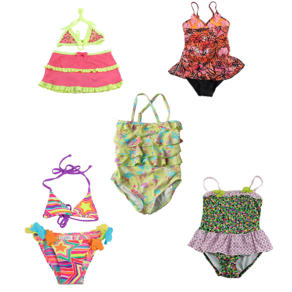 A++ Sale Cute Girls Kids Swimwear Swimsuit Biquini Infantil Straps Dots Flower Print Two Pieces Swim Suit Costume Skirt Tankini(China (Mainland))
