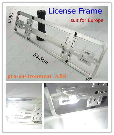 1 pair Chrome European size car license plate frame number-plate RoHS  pro-environment  ABS FFF (FREESHIPPING)