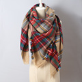 2015 ZA Brand Tassel edges Square Scarf Plaid Pattern High Quality Acrylic Women Scarves Wholesale Free