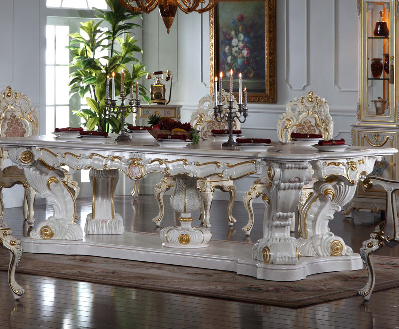 Italian Hand-carved Luxury Table Classical French gilt wood carving painted long Dining Table(China (Mainland))