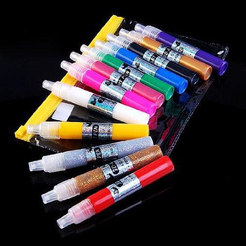3D Paint Nail Art DIY Polish Pen Uv Gel Acrylic Tips Set Salon Beauty