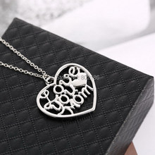 """Mother's Day Gift """"Love You Mom"""" Letter Heart Pendent Necklace Chain Silver New Personalized Jewelry for Mum(China (Mainland))"""