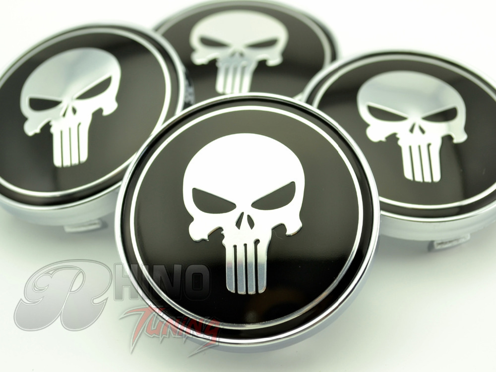 4PC X 60mm Black Alloy Skull Auto Car Wheel Centre Badge for Car Wheel Center Caps Emblem 206(China (Mainland))