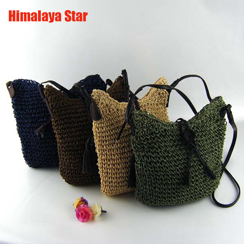 2016 Newest Fashion Woven straw Shoulder Bags Summer font b Women b font Crossbody Burlap Pouches