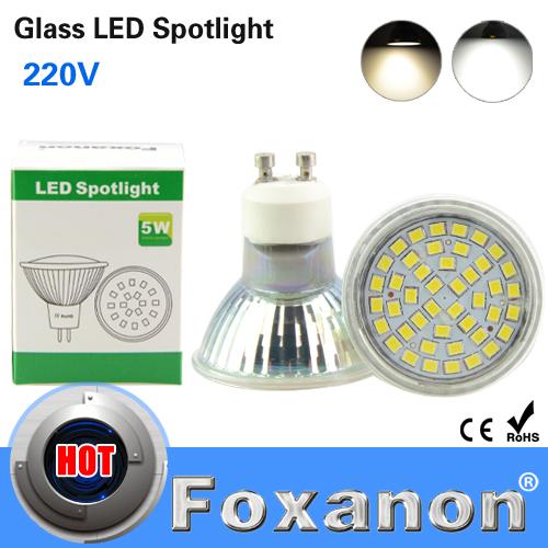 Foxanon Led Spotlight 2835 SMD 44Leds Lights GU10 220V 5W Lamps 120 Degrees Glass body GU 10 Spot Light Bulb For Luxury Hotel(China (Mainland))