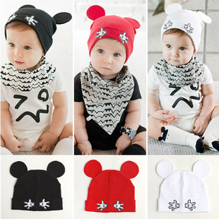 NEW Solid Cotton Soft Infant Child Boys Girls Newborn baby Children hat cap Lovely ear design(China (Mainland))