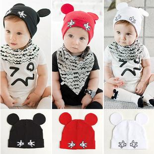 NEW Solid Cotton Soft Infant Child Boys Girls Newborn baby Children hat cap Lovely ear design(China (Mainland))