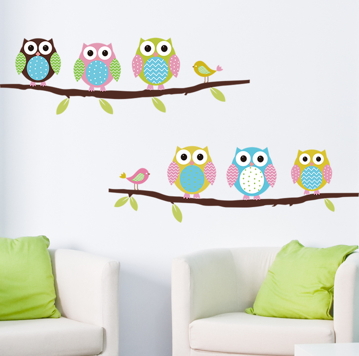 Animal cartoon owl DIY Vinyl Wall Stickers For Kids Rooms Home Decor Art Decals 3D Wallpaper decoration adesivo de parede(China (Mainland))