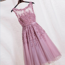 2016 Robe De Soiree Red Pink Blue Beading Lace Slit Short Evening Dresses women luxury Formal Gown Prom Dresses robe rouge GF100