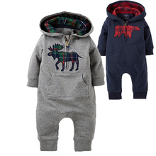 Baby Rompers 2016 Fashion Brand Ropa De Bebe Long Sleeve Hooded Cotton Baby Costume Spring Autumn Romper Newborn Baby Clothes(China (Mainland))
