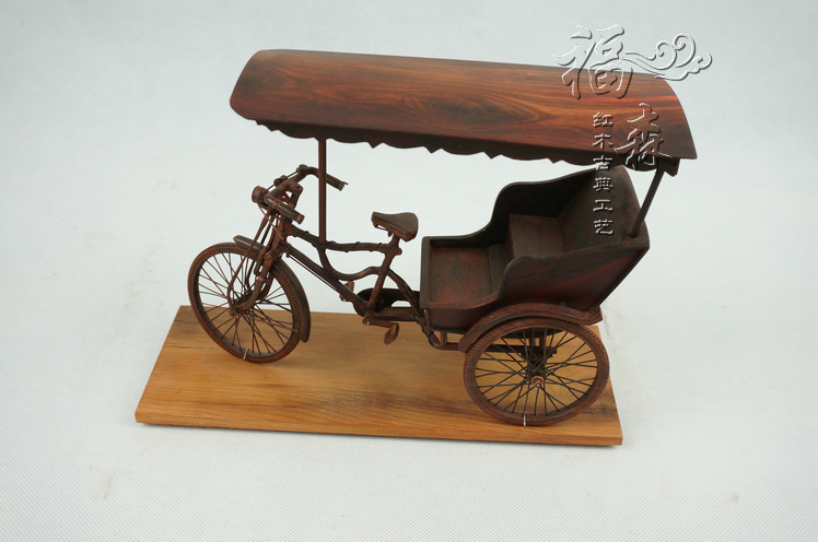 Mahogany classical crafts india lobular red sandalwood model small tricycle wood carving furniture accessories decoration(China (Mainland))