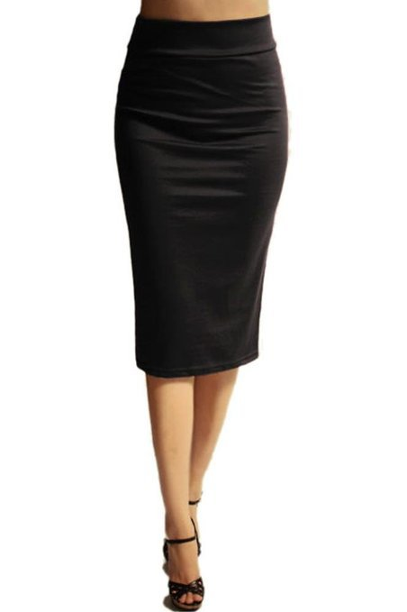 high waist s below the knee pencil skirt for office