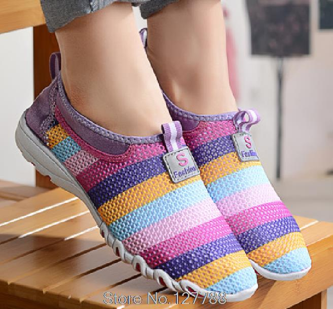 New summer women flat shoes breathable colourful loafers Air mesh slimming flat with lady shoes size 35-40 A063<br><br>Aliexpress