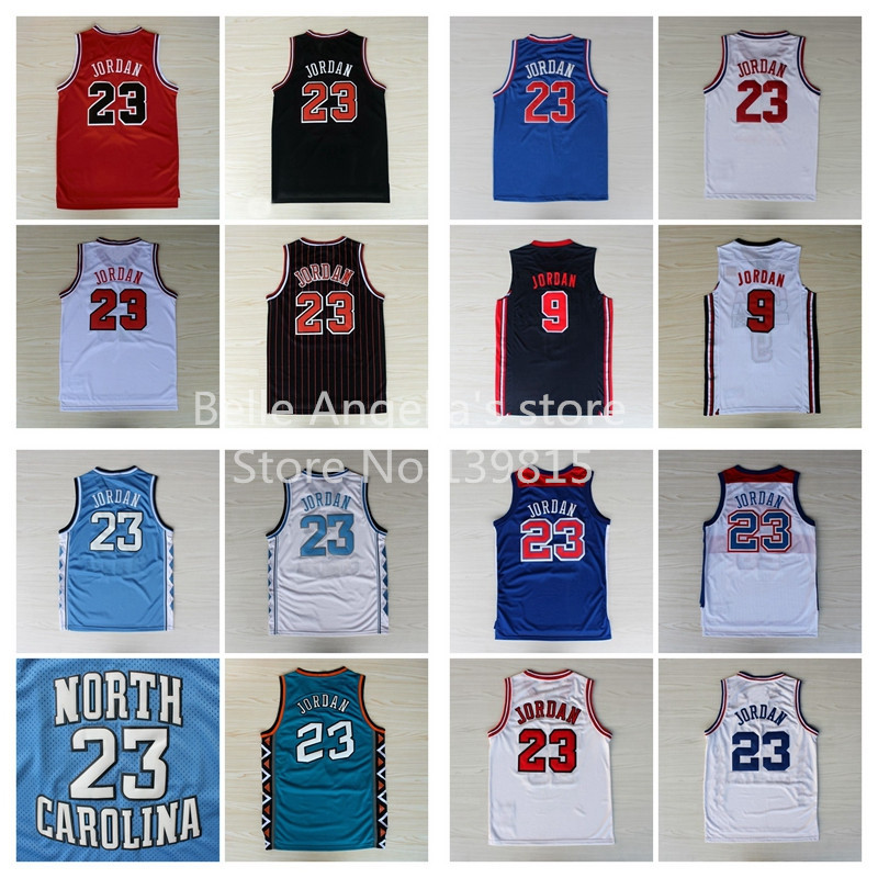 Chicago #23 Michael Jordan White Red Black Stripes Jersey, North Carolina Jersey, 1992 1996 1998 2003 All Star Basketball Jersey(China (Mainland))