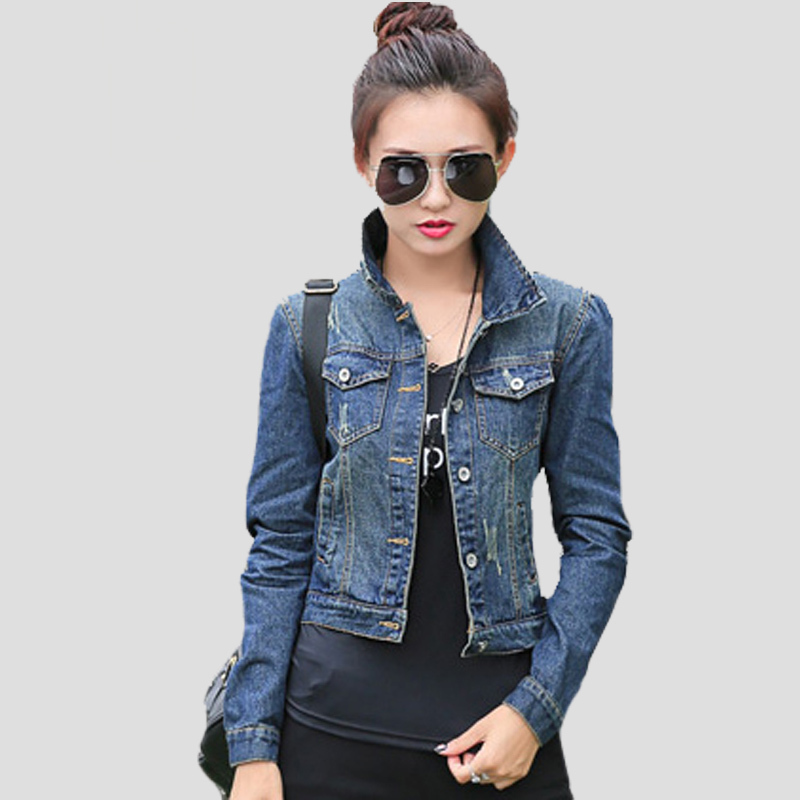 Summer autumn style women fashion casual slim short jean tops vintage full sleeve denim jacket woman small coat clothes(China (Mainland))