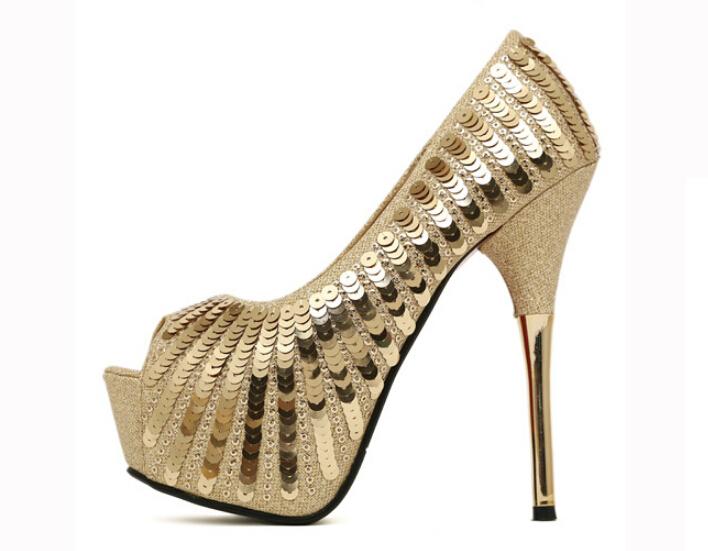 Red bottom high heels women pumps platform brand sequin for Fish head shoes