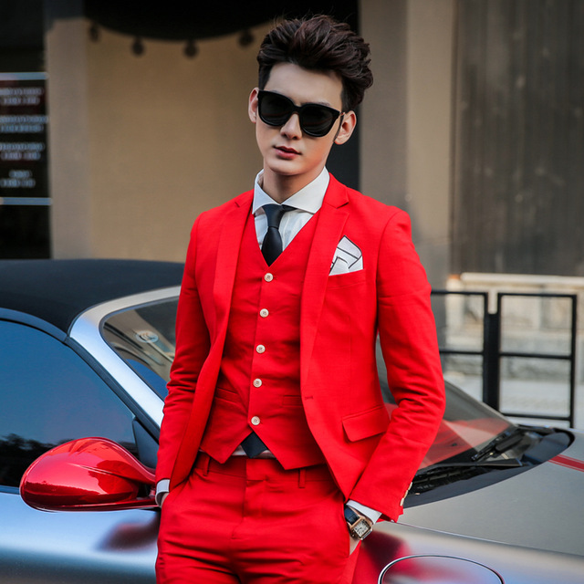 Classic Style One Button Red Groom Tuxedos Groomsmen Men's Wedding Prom Suits Custom Made (Jacket+Pants+Vest+Tie) K:334