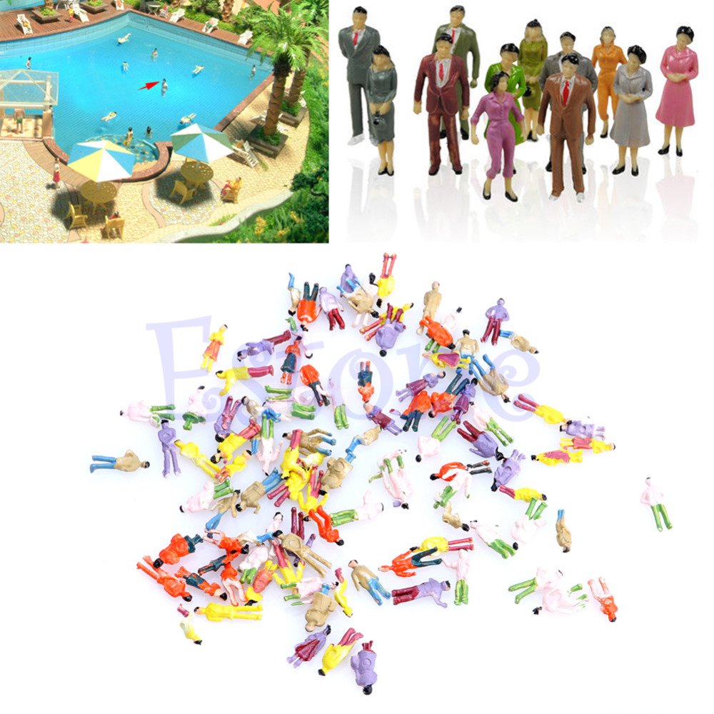 New 100pcs 1:150 Building Layout Model People HO Scale Painted Figure Passenger(China (Mainland))