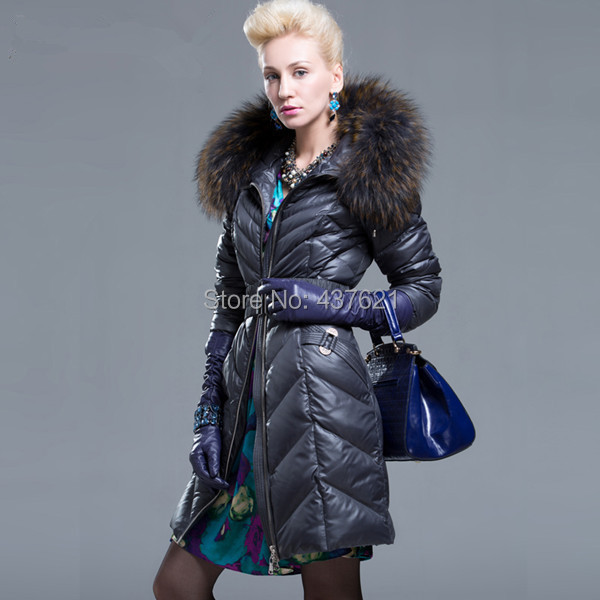 2015 women's large raccoon fur collar coat lady's slim design long jacket warm plus size winter - Happy Time Store 437621 store