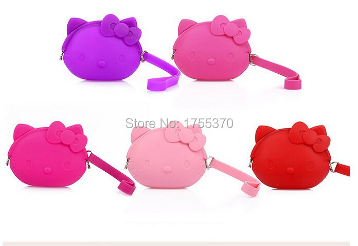 Sweet Hello Kitty Silicone Coin Purse Wallet Pouch Case Clutch Key Wallet Change Card Bag(China (Mainland))